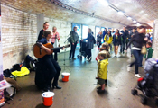 Buskers at South Kensington Tube Station